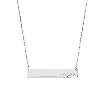 925 Sterling Silber Rhodium vergoldet Seite Wege Bar ich liebe dich Gravur Halskette 18 Zoll Schmuck Geschenke für Frauen