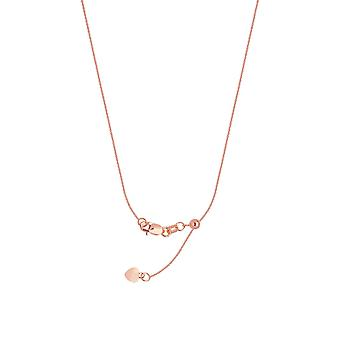925 Sterling Silver Rose Plated 0.9mm Adjustable Cable Chain Necklace With Bead 22 Inch Jewelry Gifts for Women