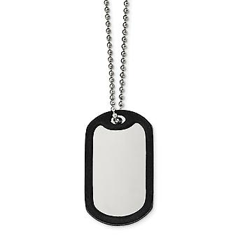 Stainless Steel Brushed Mirrored Removeable Black Rubber Animal Pet Dog Tag Neck Jewelry Gifts for Women