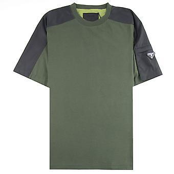 Prada Metall Abzeichen Jersey T-shirt grün