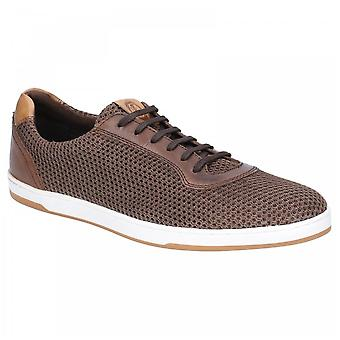 Base London Brown Leather/textile Hustle Mesh Lace Up Trainers