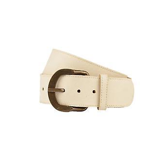 Wide Ecru Women's Belt With Vintage Buckle