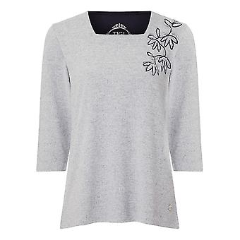 TIGI Grey Embroidered Top