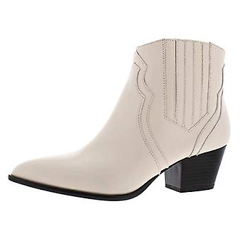 INC Womens Andriaa Leather Pointed Toe Ankle Boots Ivory 5.5 Medium (B,M)