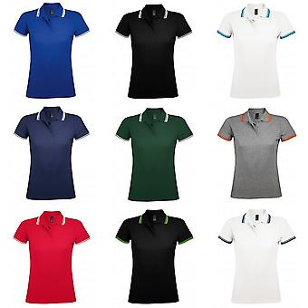 SOLS Womens/Ladies Pasadena Tipped Short Sleeve Pique Polo Shirt