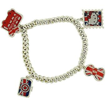 Hello Kitty officiella Merchandise flickor Silvertone Multi Charm armband FJ1595