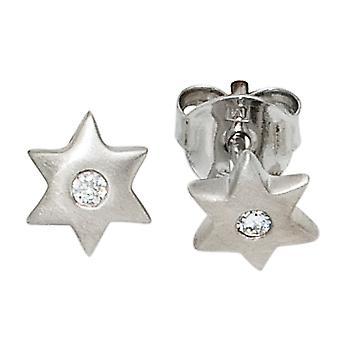 أطفال مسمار الأقراط نجمة نجوم 925 الفضة الاسترليني مطفأة 2 أقراط الزركونيا مكعب