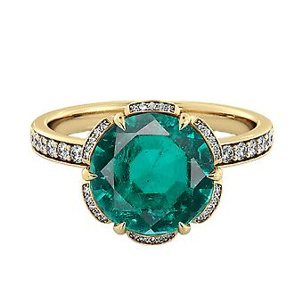 Emerald 2.00 ctw Ring with Diamonds 14K Yellow Gold Flower Vintage Halo