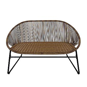Charles Bentley Zanzibar 2 Seater Outdoor Patio Furniture Bench In Natural PE Rattan With Black Powder Coated Frame H80 x D70 x W114cm