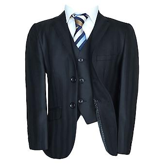 New Boys 3 PC Stripe Black Wool Suit
