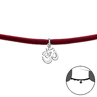 Om Symbol - 925 Sterling Silver + Velvet Chokers - W34598x