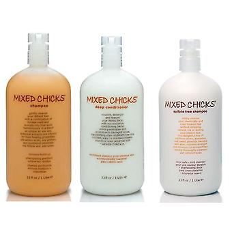 Mixed Chicks sulfaat vrije Shampoo 1L & Mixed Chicks Leave-In Conditioner 1L, & Mixed Chicks Deep Conditioner 1L