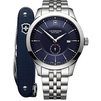 Victorinox Swiss Army Alliance Blue Quadrante Argento Inacciaio Inox Bracciale Da Uomo 241763.1 RRP - 499 USD
