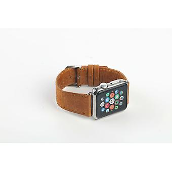 44mm,42mm for Apple Watch Series 1,2,3 and 4 Genuine Leather Rounded Strap Brown