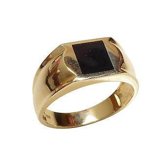 Yellow gold onyx seal ring