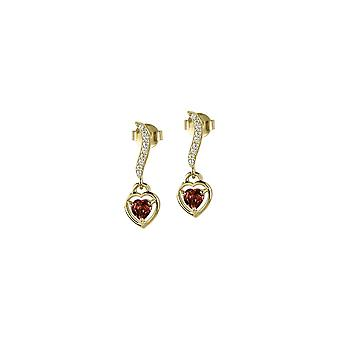 Jacques Lemans - Studs sterling silver plated with garnet - SE-O120I