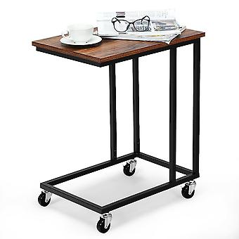 Rolling Industrial Side Table Beside Sofa Nightstand End Lamp Table C-Shaped
