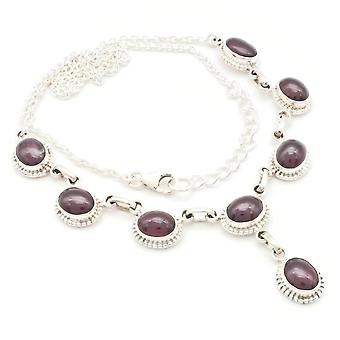 Garnet Necklace 925 Silver Sterling Silver Necklace Red (MCO 07-02)