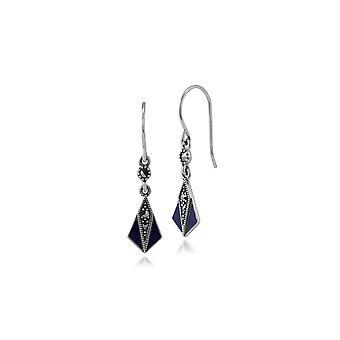 Art Deco Style Round Marcasite & Blue Enamel Fan Drop Earrings in 925 Sterling Silver 214E686904925