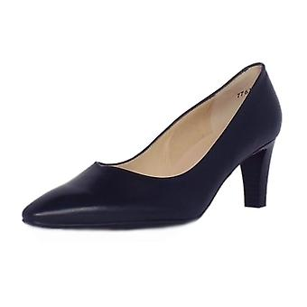 Peter Kaiser Mani Classic Semi-pointed Mid Heel Court Shoes In Navy Leather
