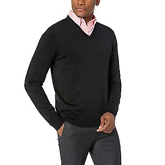 BUTTONED DOWN Men's Supima Cotton Lightweight V-Neck Sweater, black, X-Large