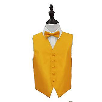 Zonnebloem gouden solide Check bruiloft gilet & strikje Set voor jongens
