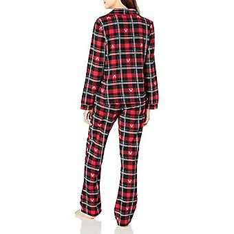 Brand - Mae Women's Sleepwear Notch Collar Pajama Set, Winter Stags, X...