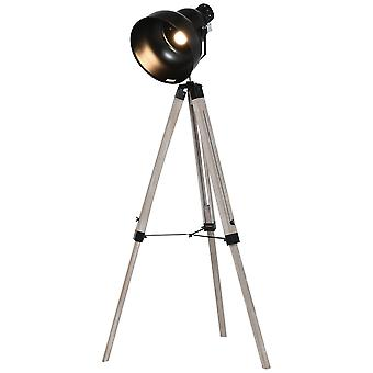 HOMCOM Industrial Tripod Base Cone Floor Lamp w/ Wood Legs Metal Shade Power Switch Adjustable Height Angle Home Office Styling Lighting Furniture Vintage Retro