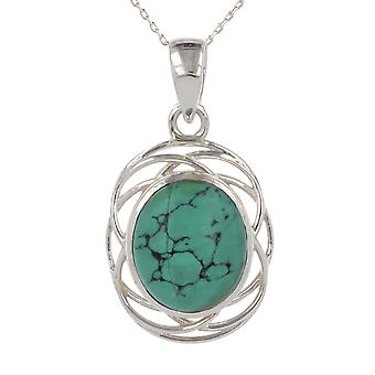 ADEN 925 Sterling Silver Turquoise Hangketting (id 3674)
