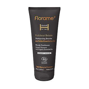 Men's Organic Woody Freshness Shower Shampoo 200 ml of cream