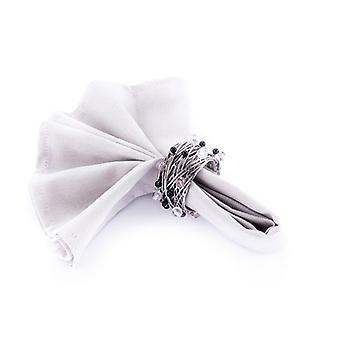 Napkin Ring Beaded Crystal/Black/Silver - Set Of 4 Pieces