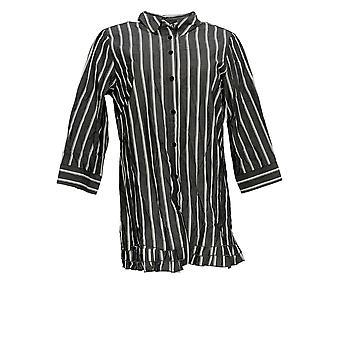 Joan Rivers Femmes-apos;s Top 3/4 Manches rayées w/ Ruffle Hem Gray A351488