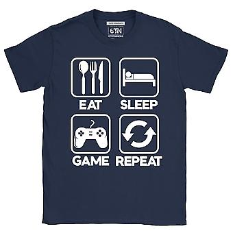 Mens gamer t shirt eat sleep game repeat gift for gamers