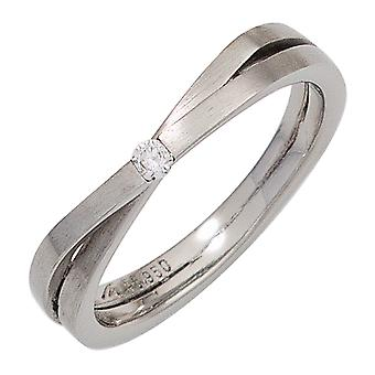 Damen Ring 950 Platin matt 1 Diamant Brillant 0,05ct. Platinring  Größe:60
