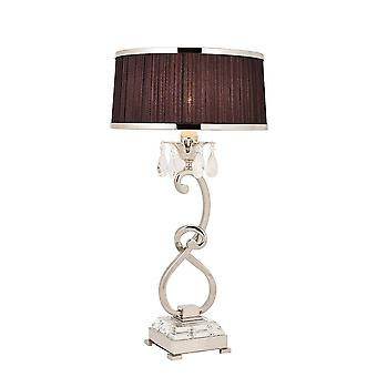 1 Light Medium Table Lampe PolisHed Nickel Plate avec Black Shade, E14