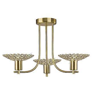 Geïnspireerd Diyas - Ellen - Semi Flush Ceiling 3 Light Satin Brass, Crystal