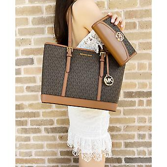Michael kors jet set signature small top zip tote brown + large fulton wallet