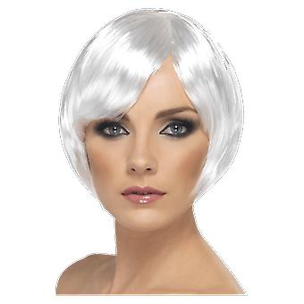 Womens White Short Bob Wig With Fringe