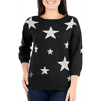 NY Collection Petite | Petite Glitter Star Sweater