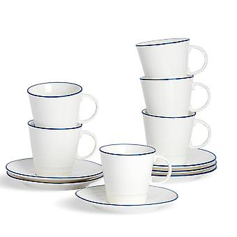 Nicola Spring 12 Piece Country Farmhouse White Tea Cup and Saucer Set with Blue Rims - 250ml