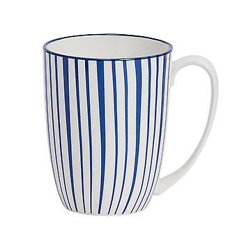Nicola Frühling Streifen gemusterten Tee und Kaffeebecher - große Porzellan Latte Tasse - Marine blau - 360ml