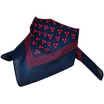 Ties Planet Navy Blue With Red 3-dot & Stripes Bandana Neckerchief