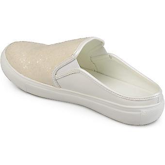 Brinley Co Womens Glitter Faux Leather Slide Sneakers