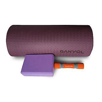 Ganvol 5 in 1 Yoga SET: 1 x TPE Yoga Mat, 2 x Yoga Dumbbells, 2 x Yoga Blocks