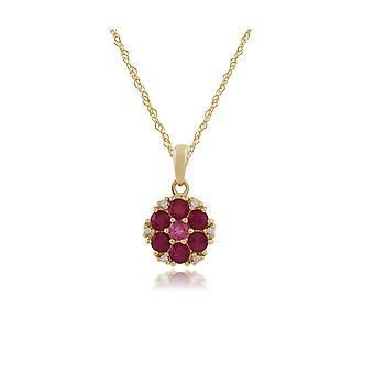 floral rund rubin, rosa turmalin & diamant anheng halskjede i 9ct gult gull 135P1472029