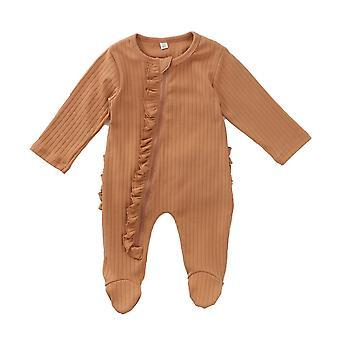 Στερεό μακρύ μανίκι, βολάν φερμουάρ, θερμό sleepwear