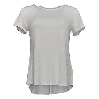 H di Halston Women's Top Crew-Neck Top W/ Shirttail Hem White A353390
