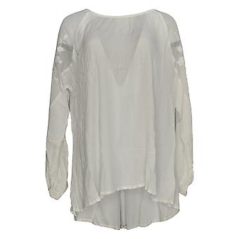 DG2 por Diane Gilman Women's Top Bordado Sheer Shoulder White 654-871