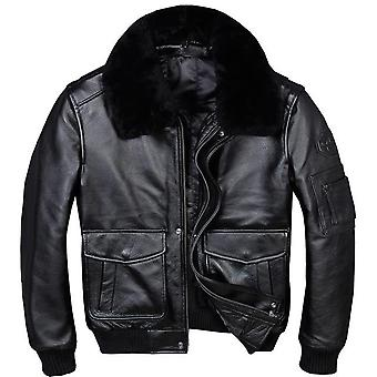 A2 usaf pilot leather jacket with faux fur collar