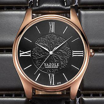 YAZOLE 376 Fashion Mænd Quartz Watch Luksus Laser Mønster Business Wrist Watch